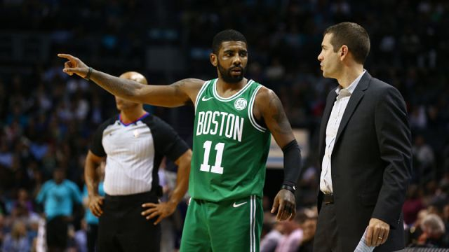 Boston Celtics guard Kyrie Irving and head coach Brad Stevens