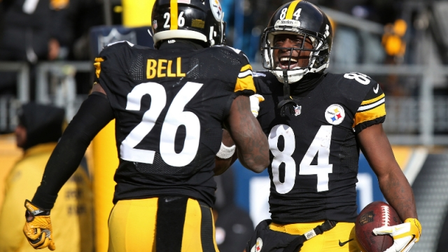 New York Jets running back Le'Veon Bell and New England Patriots wide receiver Antonio Brown