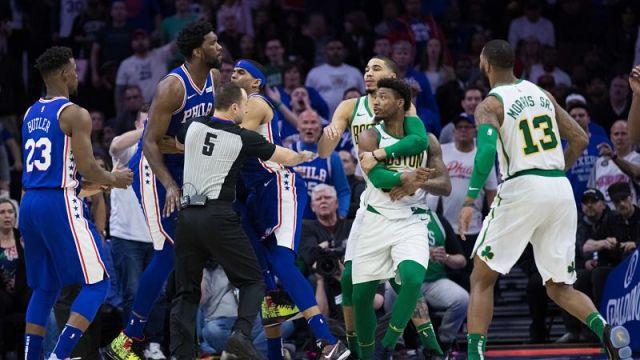 Boston Celtics point guard Marcus Smart and Philadelphia 76ers center Joel Embiid