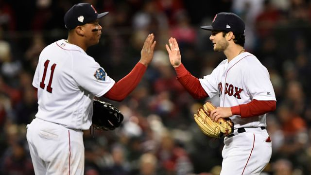 Boston Red Sox third baseman Rafael Devers and outfielder Andrew Benintendi
