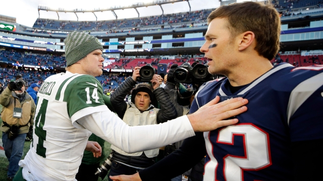 New York Jets quarterback Sam Darnold and New England Patriots quarterback Tom Brady