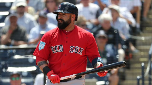 Boston Red Sox catcher Sandy Leon