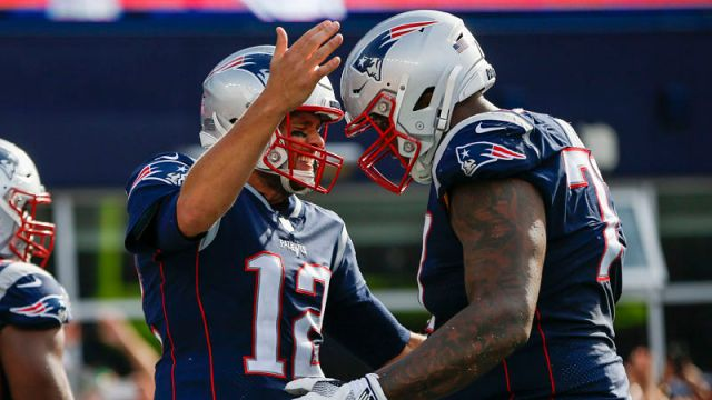 New England Patriots quarterback Tom Brady and Oakland Raiders offensive tackle Trent Brown