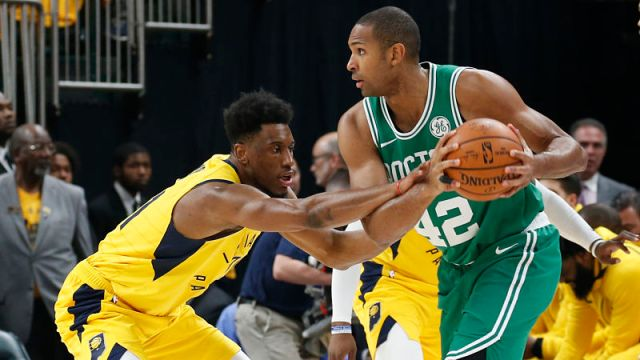 Boston Celtics forward Al Horford and Indiana Pacers forward Thaddeus Young