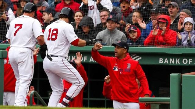 Boston Red Sox's Alex Cora, Mitch Moreland & Christian Vasquez