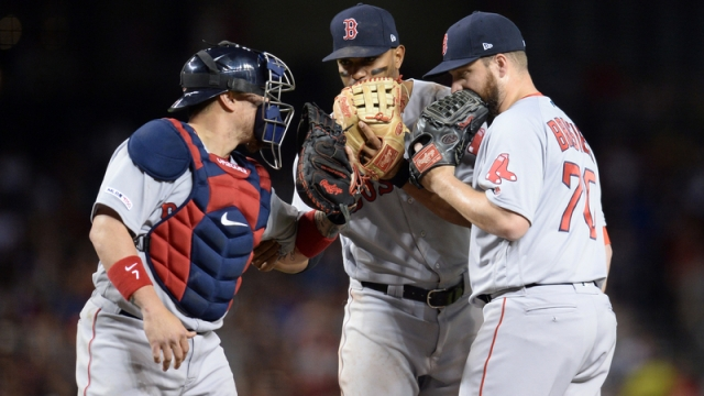 Boston Red Sox's Christian Vazquez, Xander Bogaerts And Ryan Brasier