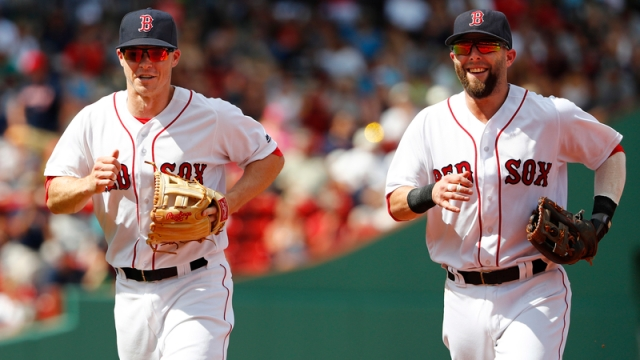 Boston Red Sox's Brock Holt And Dustin Pedroia