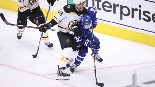 Boston Bruins right wing David Pastrnak and Toronto Maple Leafs right wing Mitchell Marner