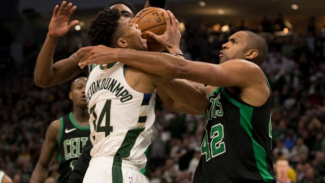 Milwaukee Bucks forward Giannis Antetokounmpo and Boston Celtics center Al Horford