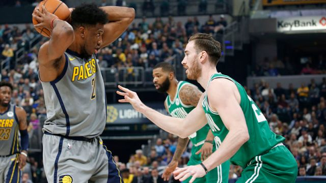 Boston Celtics forward Gordon Hayward and Indiana Pacers forward Thaddeus Young