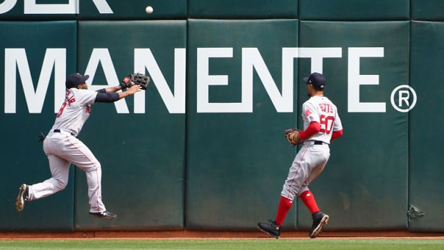 Boston Red Sox outfielders Jackie Bradley Jr. and Mookie Betts