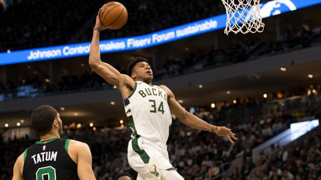 Boston Celtics forward Jayson Tatum and Milwaukee Bucks forward Giannis Antetokounmpo