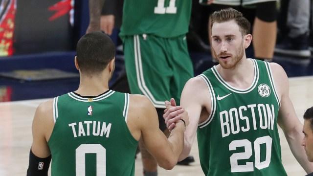 Boston Celtics forwards Jayson Tatum and Gordon Hayward