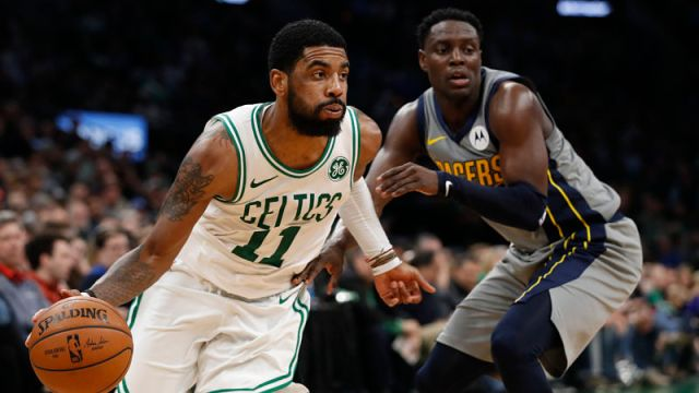 Boston Celtics guard Kyrie Irving and Indiana Pacers guard Darren Collison