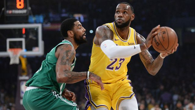 Boston Celtics guard Kyrie Irving and Los Angeles Lakers forward LeBron James