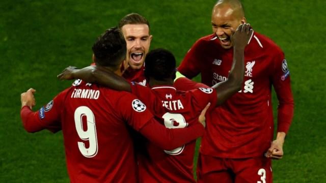 Liverpool's Roberto Firmino, Naby Keita, Jordan Henderson and Fabinho
