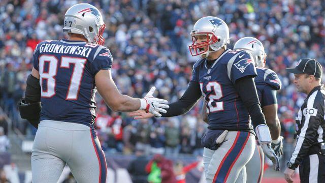 Rob Gronkowski and New England Patriots quarterback Tom Brady