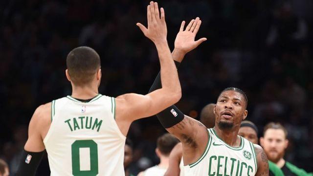 Boston Celtics guards Jayson Tatum and Marcus Smart