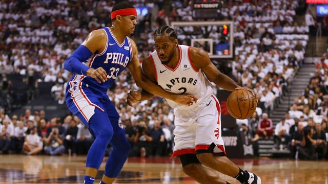 Philadelphia 76ers forward Tobias Harris and Toronto Raptors guard Kawhi Leonard