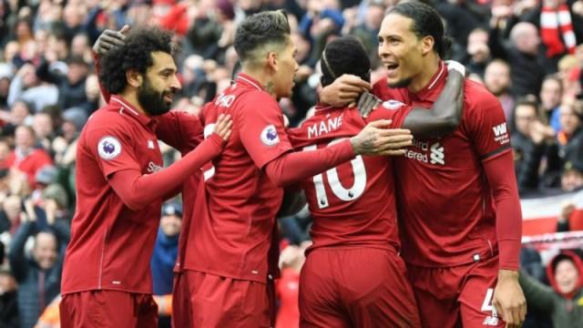 (from left to right) Liverpool's Mohamed Salah, Roberto Firmino, Sadio Mane, Virgil van Dijk