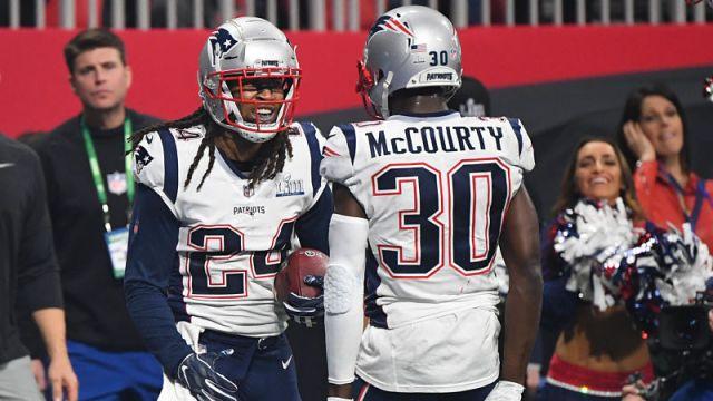 New England Patriots cornerbacks Stephon Gilmore and Jason McCourty