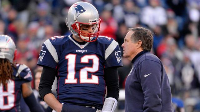 Tampa Bay Buccaneers quarterback Tom Brady and head coach Bill Belichick