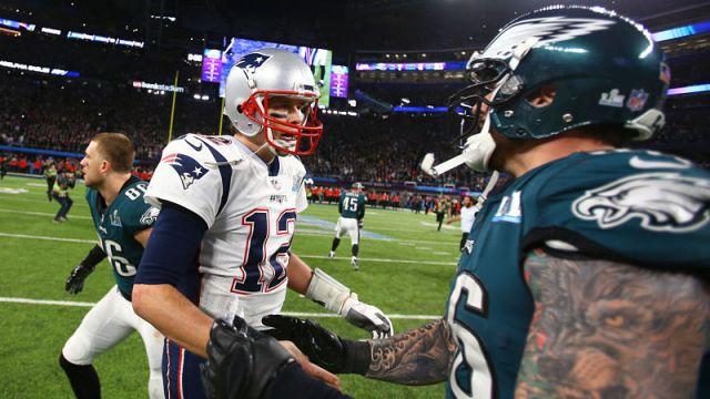 New England Patriots quarterback Tom Brady and Chris Long