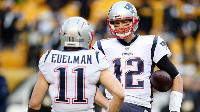 New England Patriots' Julian Edelman And Tampa Bay Buccaneers QB Tom Brady