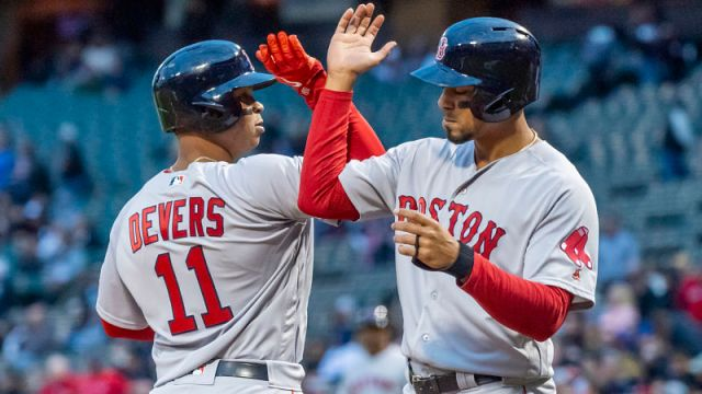 Boston Red Sox third baseman Rafael Devers and shortstop Xander Bogaerts