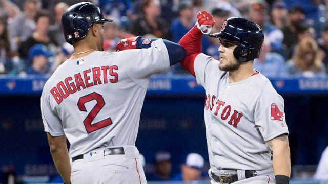 Boston Red Sox infielders Michael Chavis and Xander Bogaerts