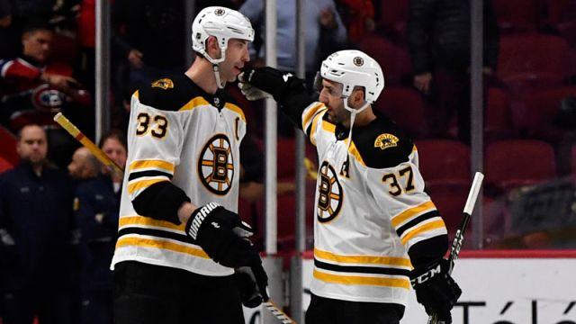 Boston Bruins' Zdeno Chara, Patrice Bergeron