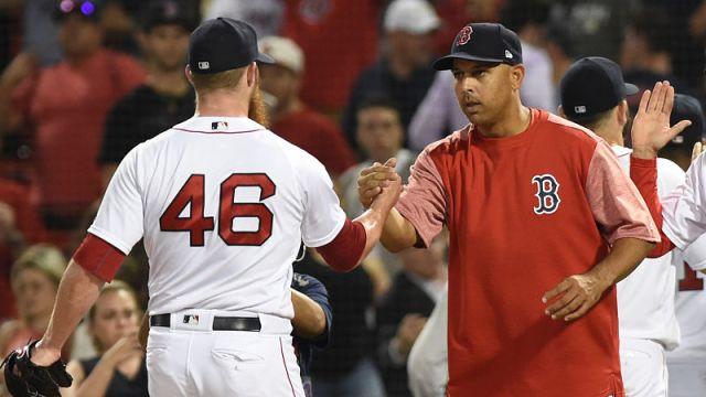 Chicago Cubs pitcher Craig Kimbrel, Red Sox manager Alex Cora