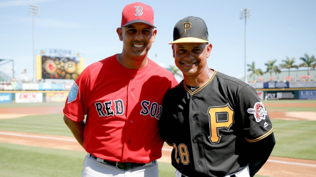 Boston Red Sox Manager Alex Cora And Pittsburgh Pirates Third Base Coach Joey Cora
