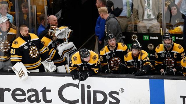 Boston Bruins On Bench