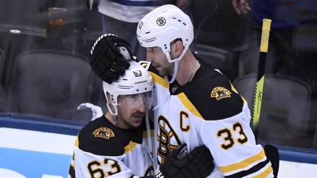 Boston Bruins Winger Brad Marchand And Defenseman Zdeno Chara
