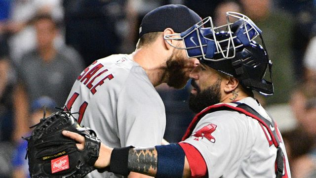 Boston Red Sox pitcher Chris Sale and catcher Sandy Leon
