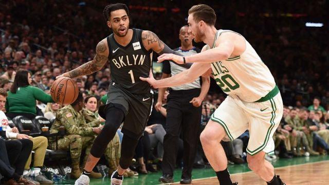 Brooklyn Nets guard D'Angelo Russell and Boston Celtics forward Gordon Hayward
