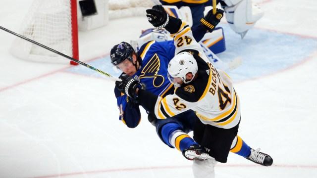 Boston Bruins' David Backes And St. Louis Blues' Oscar Sundqvist