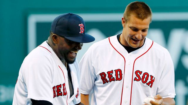New England Patriots tight end Rob Gronkowski and former Boston Red Sox designated hitter David Ortiz