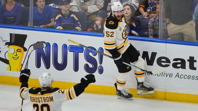 Boston Bruins forwards Joakim Nordstrom and Sean Kuraly