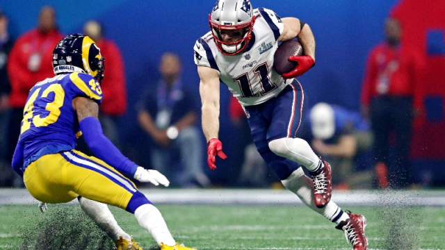 New England Patriots wide receiver Julian Edelman (11) and Los Angeles Rams strong safety John Johnson