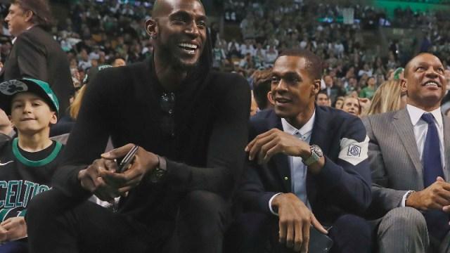 Former Boston Celtics Kevin Garnett (right) and Rajon Rondo