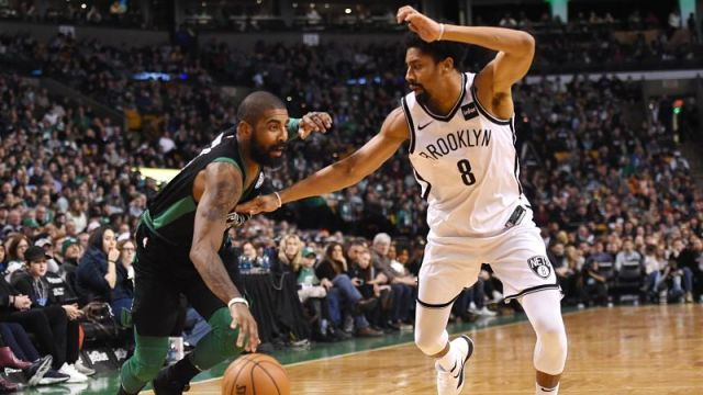 Boston Celtics guard Kyrie Irving and Brooklyn Nets guard Spencer Dinwiddie