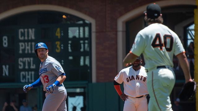 Los Angeles Dodgers second baseman Max Muncy, San Francisco Giants pitcher Madison Bumgarner
