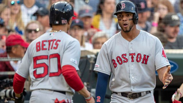 Boston Red Sox players Mookie Betts and Xander Bogaerts