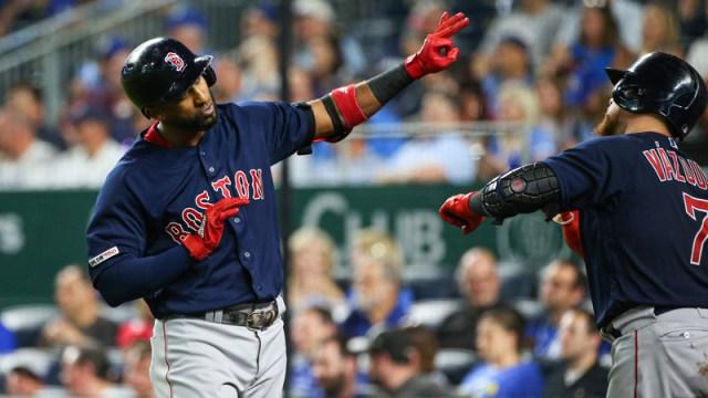 Boston Red Sox's Eduardo Nunez And Christian Vazquez