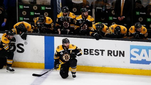Boston Bruins players including Patrice Bergeron (37)