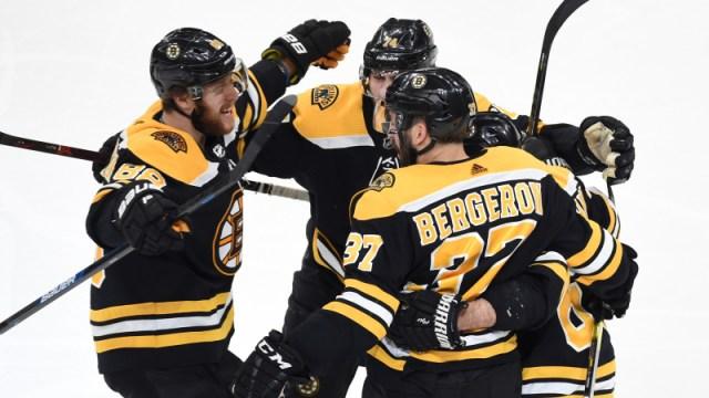 Boston Bruins' Patrice Bergeron, David Pastrnak
