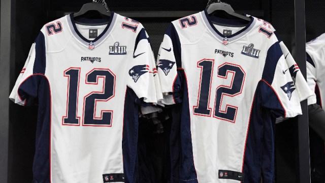 New England Patriots jerseys of quarterback Tom Brady