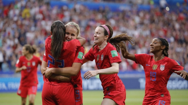 United States forward Christen Press (23), and teammates Lindsey Horan (9) , Rose Lavelle (16) and Crystal Dunn (19)
